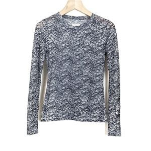 Rag & Bone The Long Sleeve Lace Print Tee